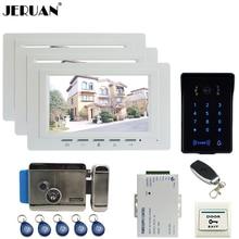 """JERUAN 7 """"TFT monitor de Vídeo de Intercomunicación Video de La Puerta Sistema de Teléfono 3 blanco RFID Táctil A Prueba de agua Cámara de La llave + Remoto de control Abierto"""
