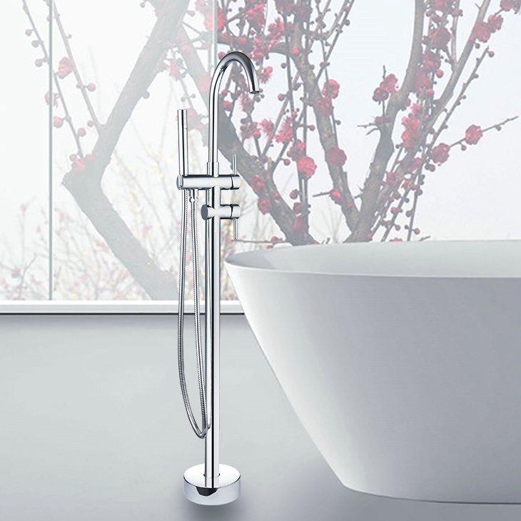 OUBONI Bathroom Floor Mounted Tub Shower Faucet Set Chrome Brass Bath Shower Set with Rain Hand Shower Tub Mixer Faucet