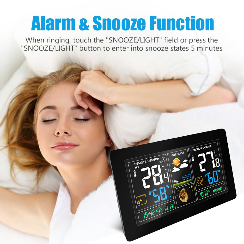Colorful LCD Snooze Alarm Clock Wireless Weather Station With Temperature Humidity Sensor Display Weather Forecast RCC