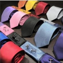 men neck tie set pocket square sleeve button hanky neckwear and handkerchief set necktie cuff link цены