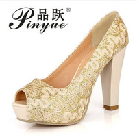 Sequined Material Vamp Women Pumps 10cm Thick High Heels Platform Shining Woman Shoes Gold Yellow White