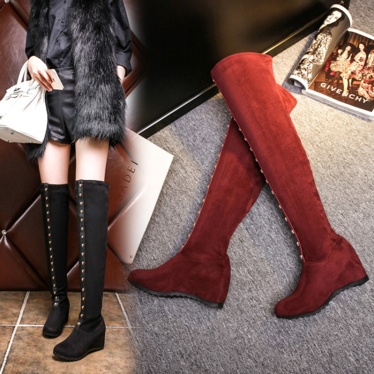 Big Size 34-43 Over the Knee Boots for Women Sexy High Heels Long boots Winter Shoes Round Toe Platform Knight Boots  529  цены онлайн
