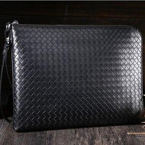 Мужская сумка-Органайзер, винтажная ручная сумка из натуральной кожи, на молнии