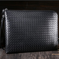 New Vintage Hand Weaving Genuine leather Men Bag Organizer Messenger bags Money Purse Card holder Phone laptop Zipper Handbag