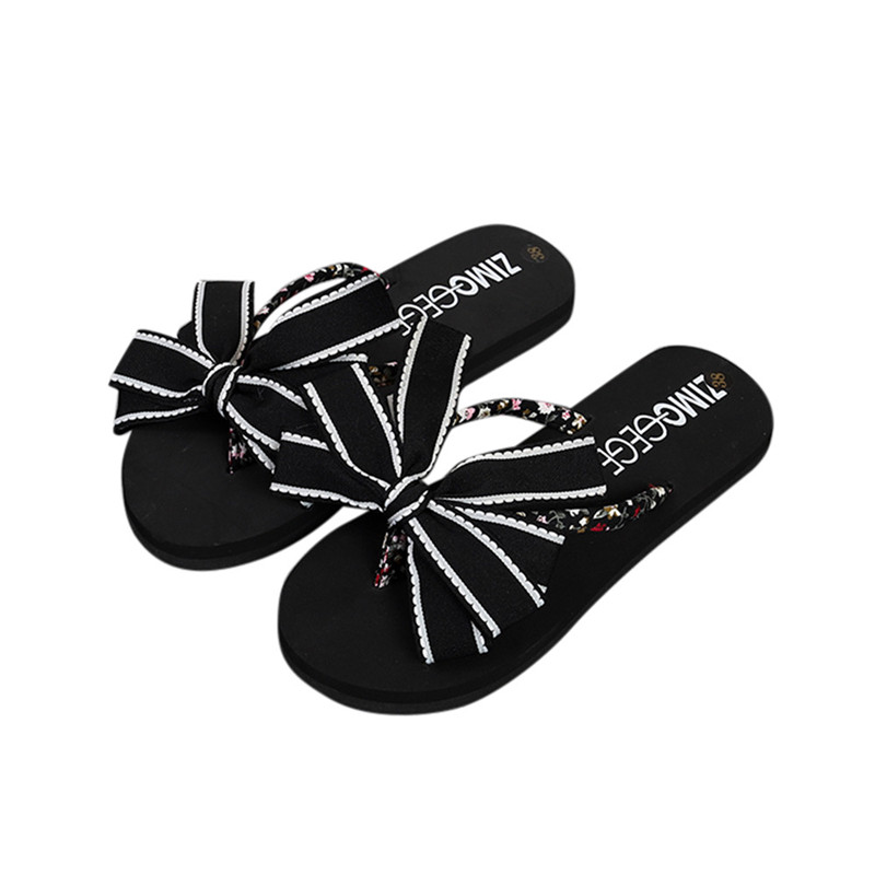 купить 2018 Bow Knot Summer Shoes Woman Indoor Outdoor Flip Flops Women Sandals Ladies Flat Slippers Zapatos Mujer Sapatos Femininos по цене 368.2 рублей
