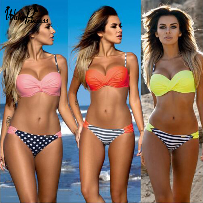 Water Princess Bikini 2017 Swimsuit Striped Dot Bandage Chest Women Push Up Swimwear Sexy Bathing Beachwear Biquini Female