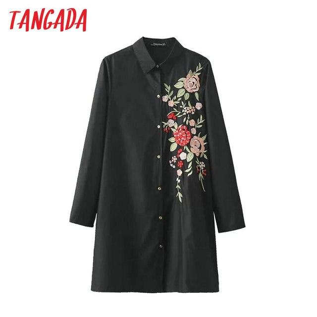 Tangada Женщины Длинные Блузка Мода Черный Цветочные Вышивки Рубашка с отложным Воротником Леди Карманный Кнопка Повседневная Марка Топы LYZ30