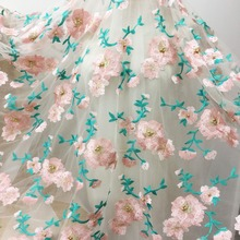 1 Yard Exquisite 3D Beaded Floral Embroidery Lace Fabric with Gold Pearl, Lyrical Dance Costumes Prom Dress Bridal