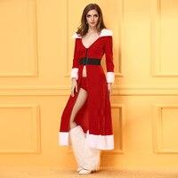חדש חם סקסי אדום חג המולד סנטה קלאוס Cosplaying שווי החורף ארוך שמלות תחפושות ליל כל הקדושים לנשים ליידי הלבשה תחתונה סקסית