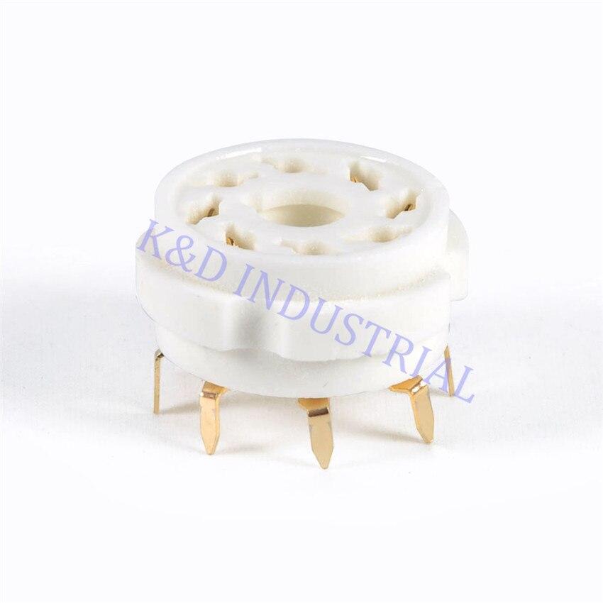 5pcs PCB Mount 8pin Gold Plate Octal Ceramic Tube Socket 6SN7 KT66 KT88 EL34