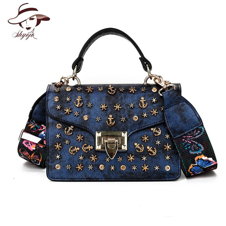 Luxury Famous Brand Metal Rivet Women Messenger Bag High Quality Female Shoulder Handbag Colour Straps PU Leather Ladies Clutch woman packet handbag ladies bag clutch ladies luxury clutch famous brand crossbody bags high quality shoulder women leather bag