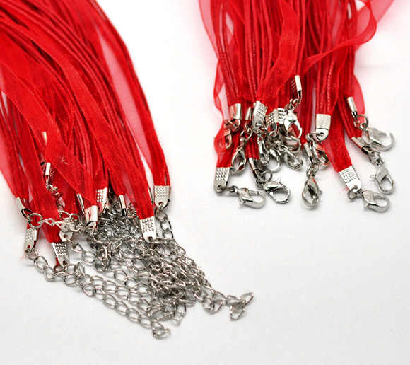 "Zinc Metal Alloy+Alloy+Organza Cord String Necklace Red 43cm(16 7/8"") long, 2 PCs new"