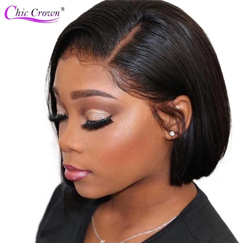 Glueless Bob Wig Brazilian Straight Short Lace Front Human Hair Wigs For Black Women Pre Plucked With Baby Hair Remy Hair