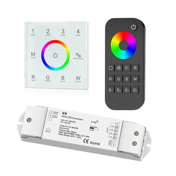 New Led RGBW strip controller 2.4GHz RF Wireless AC 100V -240V touch panel RGBW controller V4 CV receiver 12V 5A*4CH RT4 Remote