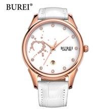 2016 Burei Relojes Del Cuarzo Casual Reloj de Las Mujeres Nuevo Top de La Moda de piel de Becerro de Cuero Cristal de Zafiro del Dial del Diamante Relojes