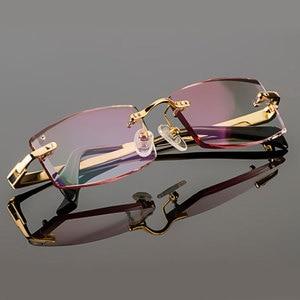Image 2 - Gmei Optical Phantom przycinanie okulary tytanowe męski model diamentowe przycinanie złote bez oprawek wykończone okulary korekcyjne dla mężczyzn