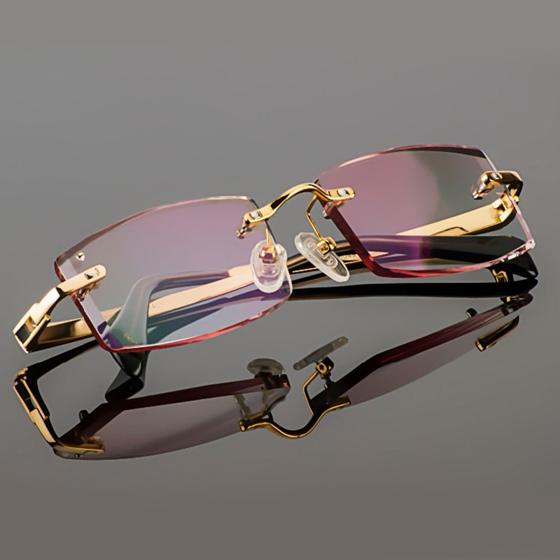 Image 2 - Gmei Optical Phantom trimming titanium eyewear male model diamond trimming Gold rimless finished prescription glassses for Men-in Men's Eyewear Frames from Apparel Accessories on AliExpress