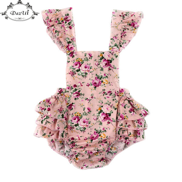 1c6a8df9cbe2 Floral Backless Girls Romper Ready To Ship Retail Baby Bubble Romper ...