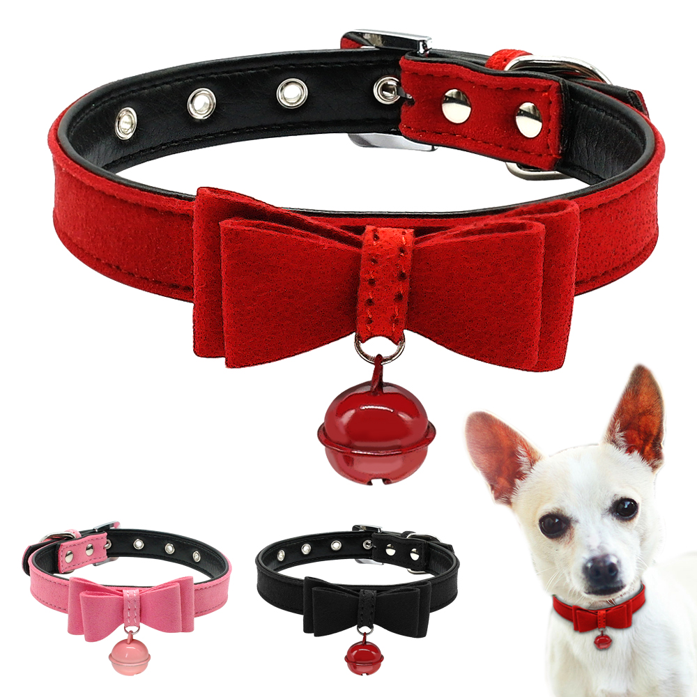 Dog Cat Collar Inner Padded Leather Puppy Small Collars With Bell and Bowknot Pink Red Black For Chihuahua Yorkie XXS XS S M