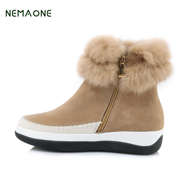 NEMAONE New Top quality Women snow boots Natural Fur Winter Boots Women's Fashion Ankle Boots Women Warm Shoes Wool Warm Boots top quality fashion women ankle snow boots genuine sheepskin leather boots 100% natural fur wool warm winter boots women s boots