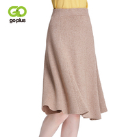 GOPLUS Autumn Winter Knitted A line Skirts Elastic Waist Sweet Flared Knee Length Knit Spring Skirts Striped Pleated Skirt C6592