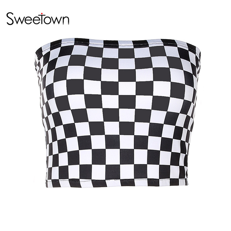 Sweetown Women Sexy Tube Top Checkerboard Strapless Cropped Bandeau Tops 2017 Plaid Contrast Color Underwear Bras Boob Bra