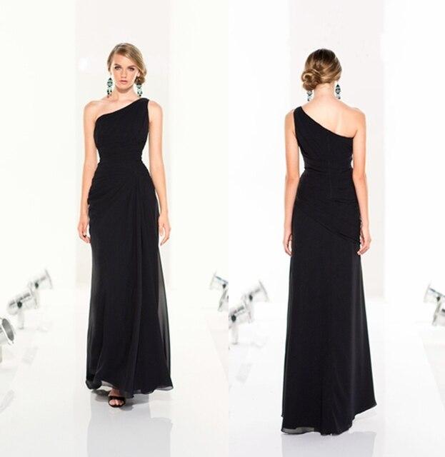 2017 New Black Chiffon One Shoulder Long Bridesmaid Dresses Length Floor Dress