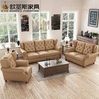 Ultime divano scenografie 6 posti in stile Americano divano Chesterfield new antique furniture vintage in pelle marrone prezzo stabilito F80A