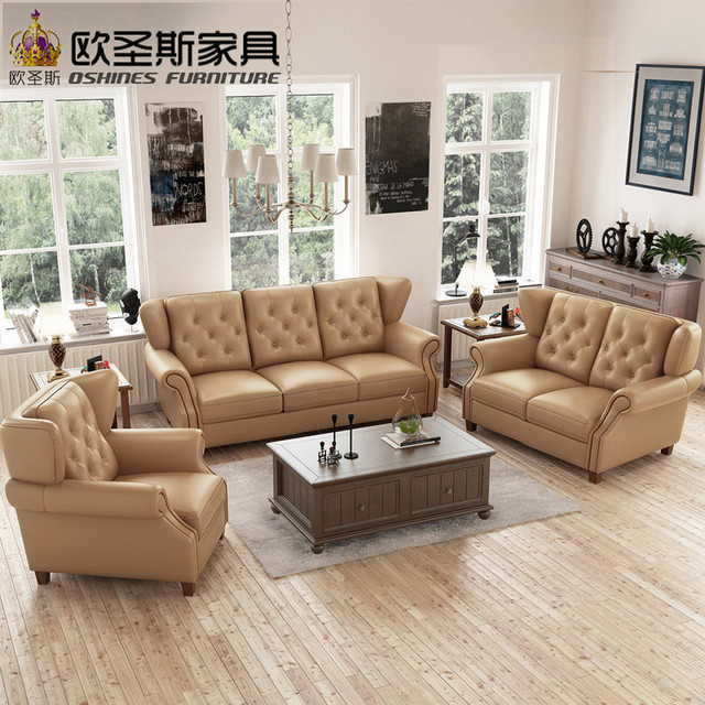 latest sofa set designs 6 seater American style Chesterfield new antique  furniture vintage brown leather sofa - Latest Sofa Set Designs 6 Seater American Style Chesterfield New