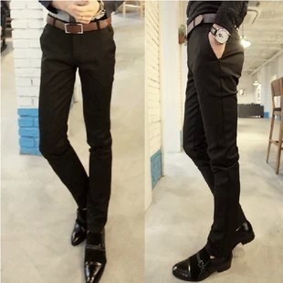 mens black slim fit business dress suit trousers western style ...
