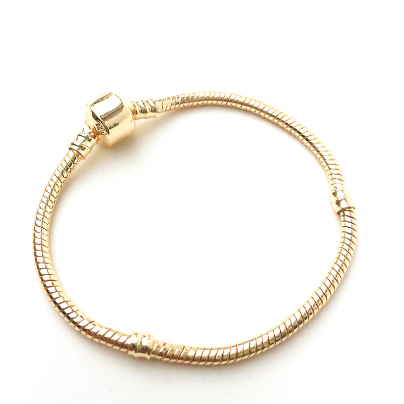 Original Gold Color & Silver Snake Chain Bracelet Classic Style Fit Pandora Bracelet Charms Beads for Women Jewelry Gift