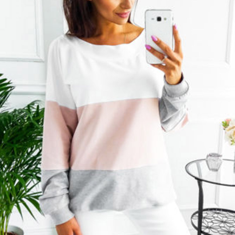 Hot Sale Women Long Sleeve Sweatshirt Ladies Casual Loose Lace Up Sexy Back Pullover Tops CXZ