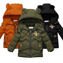 Г. Детское пальто, куртка зимняя теплая шелковая хлопковая куртка с капюшоном и милыми ушками для мальчиков и девочек