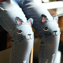 2016 New Brand Spring Autumn Toddler Girl Jeans Girls Skinny Cute Cartoon Cat Denim Pants Kids Trousers Baby Clothes 2-8Y