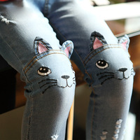 2016 New Brand Spring Autumn Toddler Girl Jeans Girls Skinny Jeans Cute Cartoon Cat Denim Pants