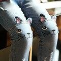2016 nueva marca primavera otoño muchacha del niño pantalones vaqueros de las muchachas lindo gato de dibujos animados pantalones de mezclilla niños pantalones del bebé ropa 2-8Y
