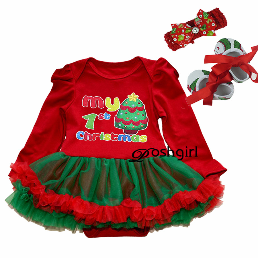 Newborn Baby Girl Clothes Baby Sets Tutu Christmas Dress Bodysuit Shoes Headband Set Roupa Infantil Baby Clothing Xmas Costumes new baby girl clothing sets lace tutu romper dress jumpersuit headband 2pcs set bebes infant 1st birthday superman costumes 0 2t