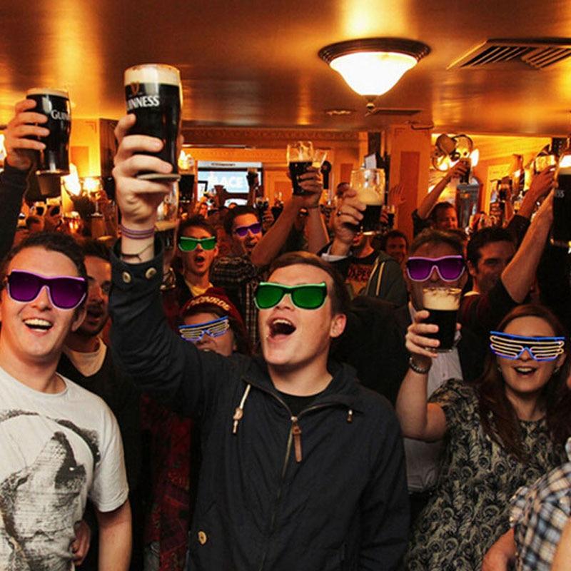 Неоновые вечерние EL очки EL Wire неоновые Светодиодные Солнцезащитные очки светящиеся очки Rave костюм вечеринка DJ Солнцезащитные Очки День Рождения Декор