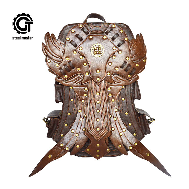 2017 Fashion Women SteamPunk Backpack Retro Rock Travel Bag Halloween Retro Small Demon Personality Women Punk Backpack