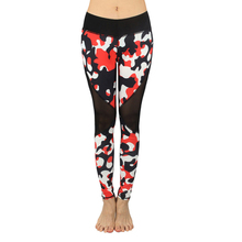 Summer 2017 Women Leggings Sexy Bottoms Camouflage Mesh Splicing Fitness Slim Legging Breathable Workout Hollow Elastic Pants