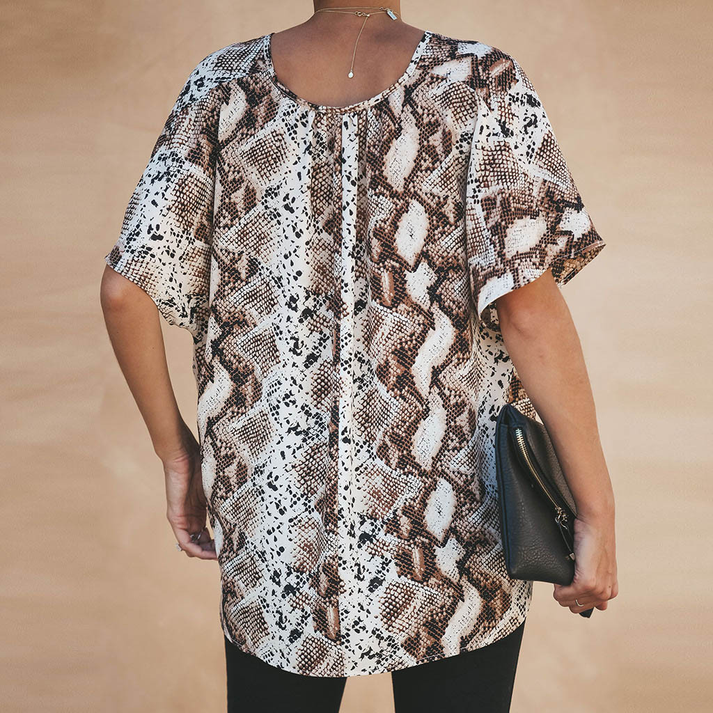 Women Fashion V Neck Leopard Print Short Sleeve Irregular tunic camisa feminina koszulki damskie chiffon blouse kimono vogue