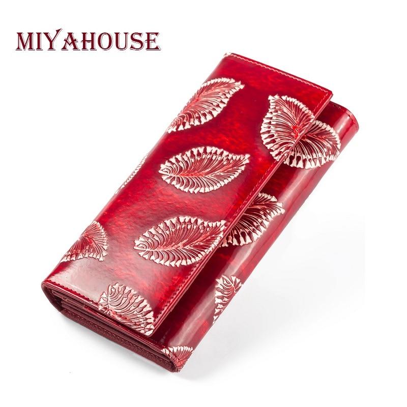 Длинные кошельки Miyahouse для женщин, тисненые кошельки с листьями, женский клатч из натуральной кожи, кошелек из воловьей кожи с держателем дл...