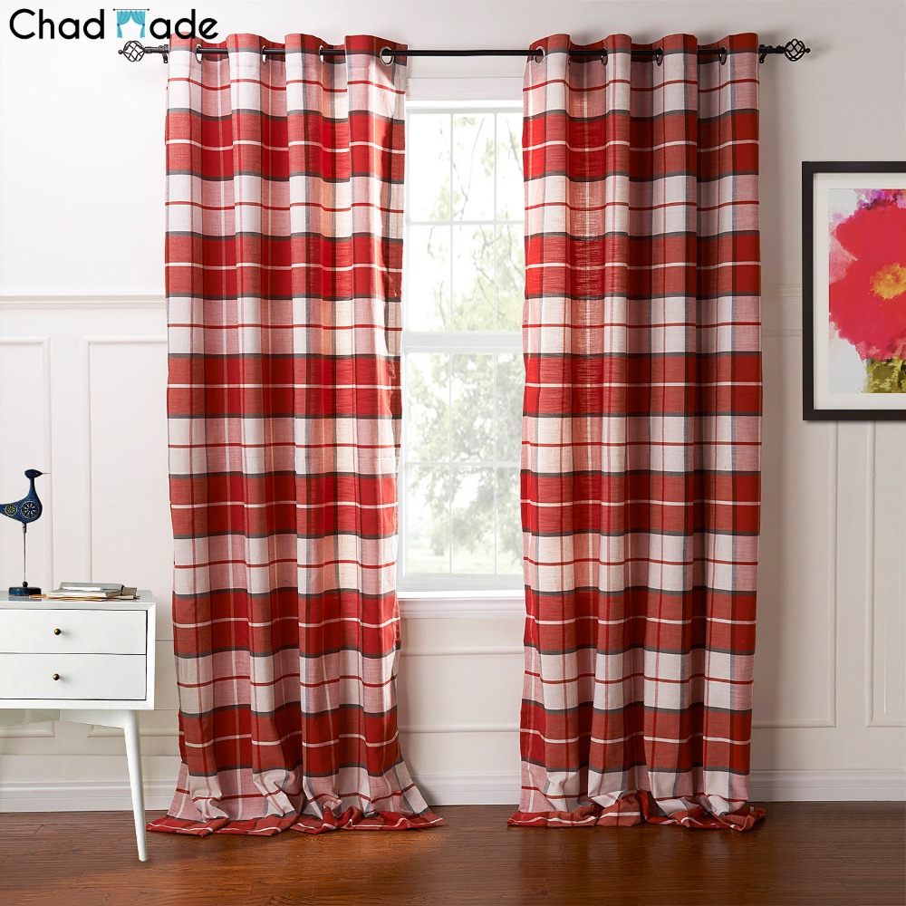 popular modern curtain materialbuy cheap modern curtain material  - chadmade plaid pattern polyester cotton material window curtains for livingroom modern style decoration curtain drape