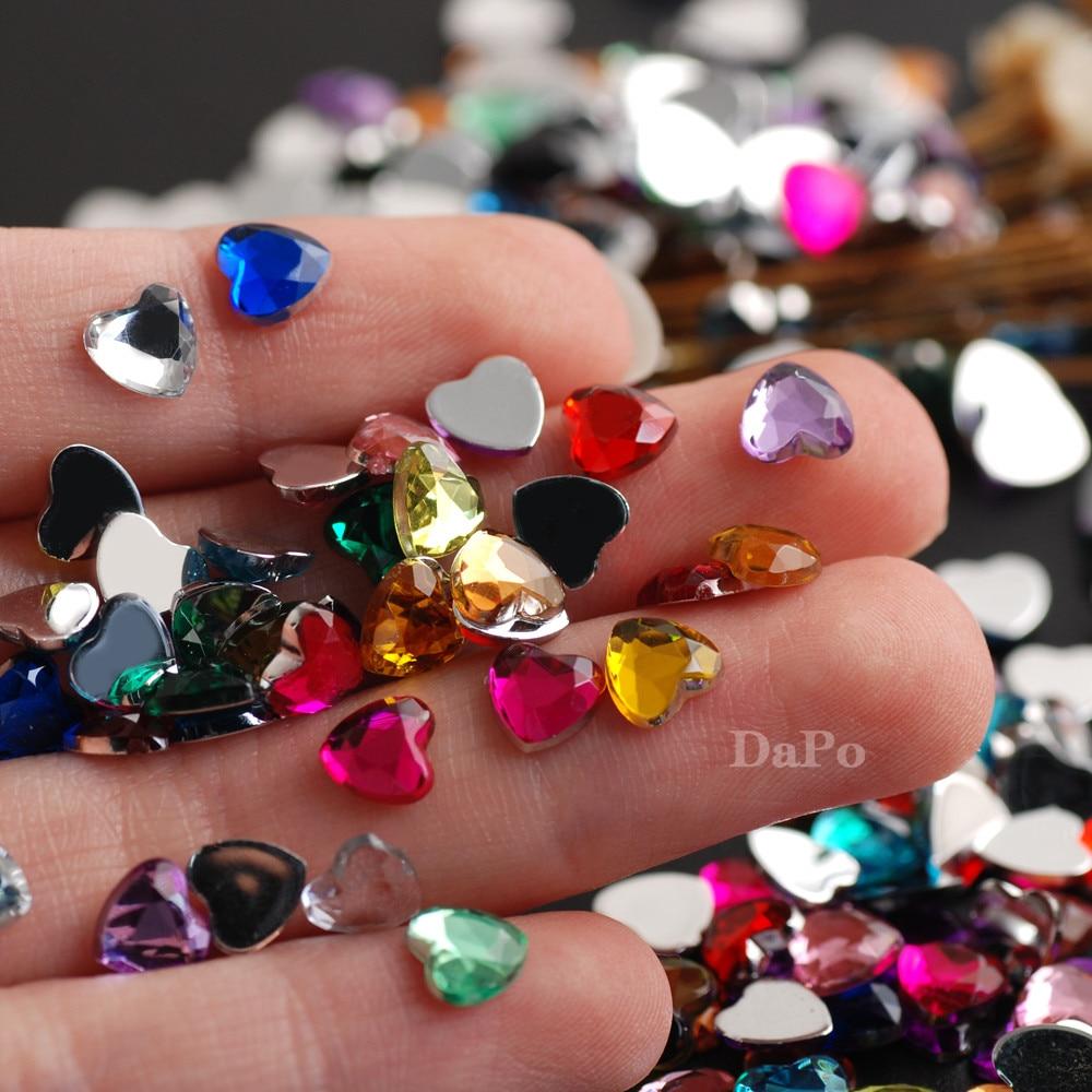 100Pcs Heart Crystal Diamond 17 Color Shiny Nail  Accessories Distinctive Beauty Nail Art Rhinestone DIY Decorative Crystal