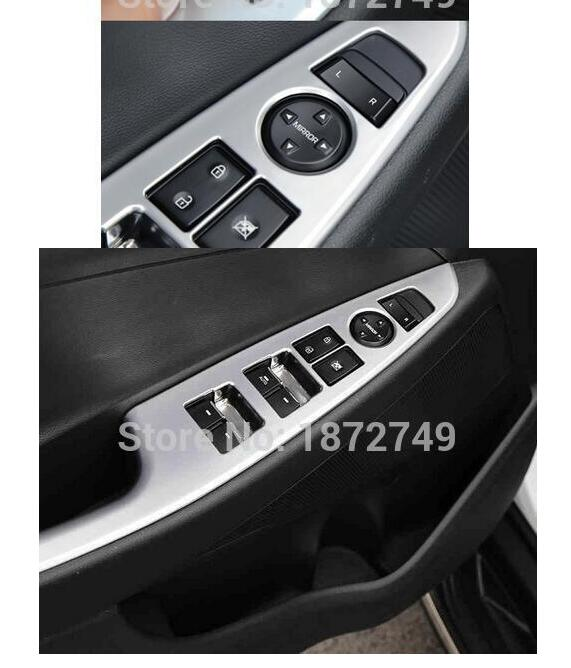 For LHD Hyundai Tucson 3th 2016 Accessories 4 Pcs/Set ABS Chrome Car Interior Decoration Door Window Switch Cover Trims  high quality abs chrome decoration interior garnish molding kit 17pcs for hyundai 2013 2016 santafe make in korea accessories