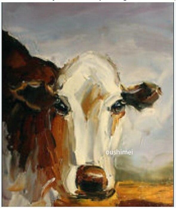 Peinture à l'huile à la main sur toile abstraite animaux peintures décor à la maison vache photo mur Art salon