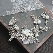 פרח כסף צבע כלה שיער מסרק תכשיטי חתונה מסיבת סרטי ראש הכלה בציר תכשיטי Hairwear אבזרים