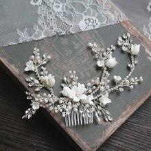 Blume Silber farbe Braut Haar Kamm Schmuck Hochzeit Party Stirnbänder Braut Vintage Hairwear Schmuck Zubehör