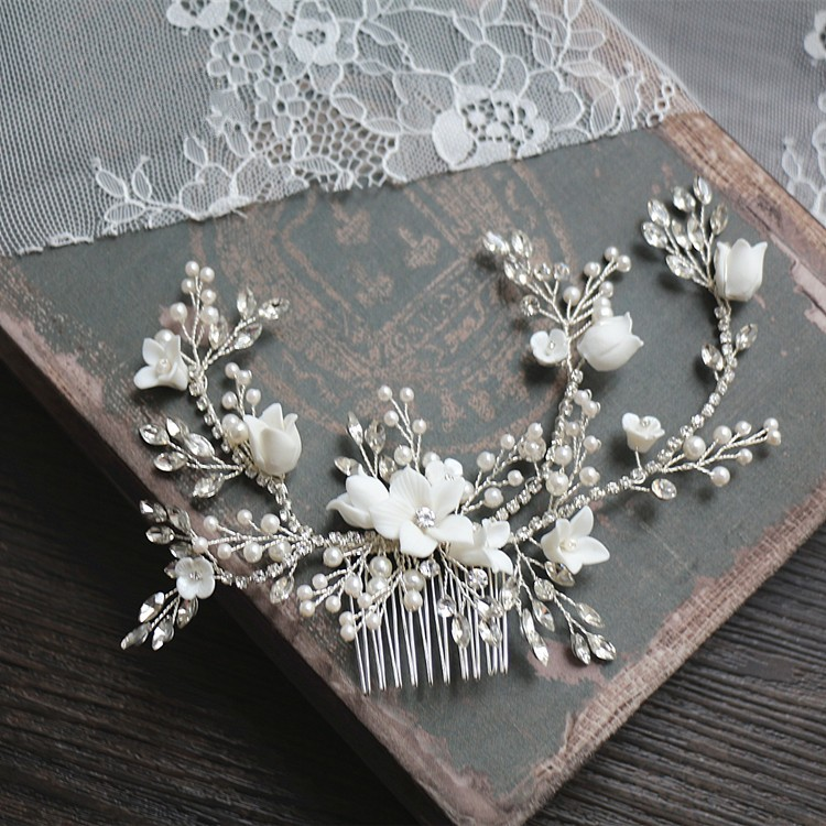 все цены на Dower me Flower Silver Bridal Hair Comb Jewelry Wedding Party Headbands Bride Vintage Hairwear Jewelry Accessories