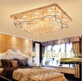 Прямая лампа для гостиной прямоугольная хрустальная лампа роскошная атмосфера зал ресторан спальня потолочный светодиодный пульт дистанц...